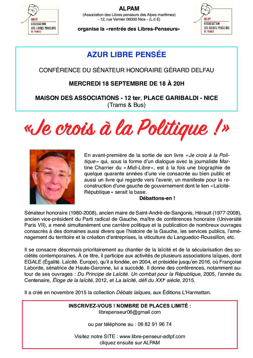 Conférence : «Je crois en la politique»